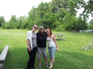 VM Program Manager Laura Aceituno visits VMC Kaitlyn Fernald and her Site Supervisor Cara Fogarty at The Greenwell Foundation.