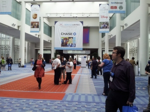 Enthusiastic attendees outside the Main Exhibitors Hall on the first day of NCVS