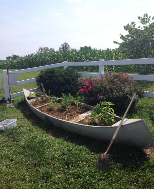 Creative use of a canoe as a flowerbed!