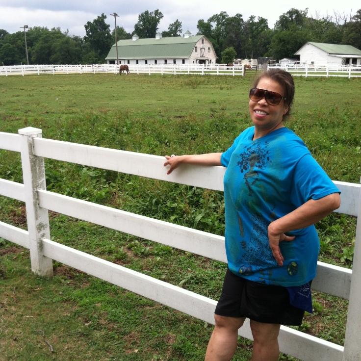 Rhonda posing with the horses.