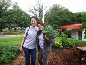 Kelly MacBride-Gill, Kristen Wharton and some amazing kale at one of the Three Sisters Gardens in Greenbelt