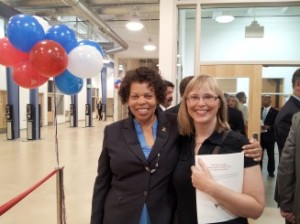 Rhonda Nelson and Kerry Ose at the ribbon cutting ceremony for the Volunteers of America Chesapeake Residential Re-entry Center