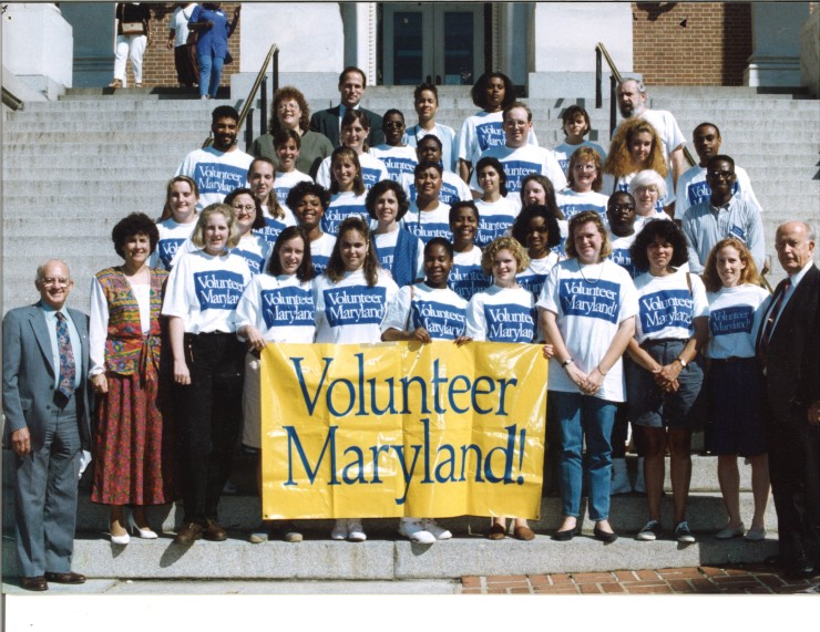 The first class of Volunteer Maryland with Governor William Donald Schaefer (bottom right).